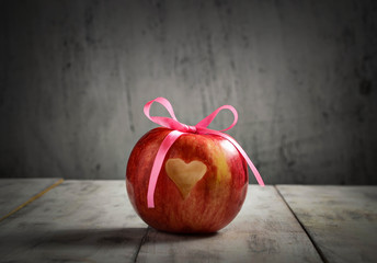 Fresh apple with heart for Valentine day