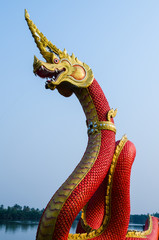 Closeup head the Statue of King of Nagas