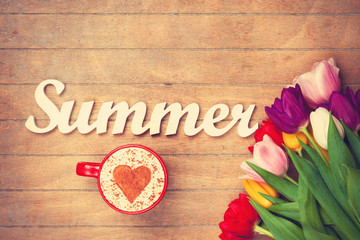 Cappuccino and word Summer near flowers