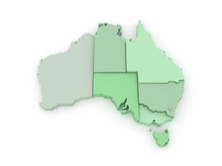Three-dimensional map of Australia.