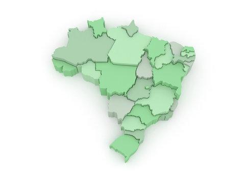 Three-dimensional map of Brazil.