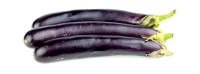 Group of long eggplant isolated on white