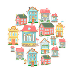set of hand-drawn vector Cute cartoon houses