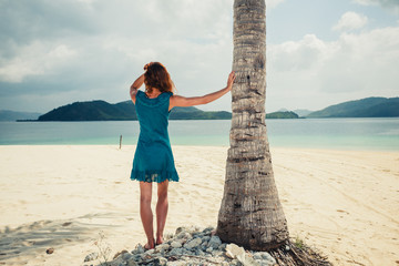Woman standing by palm tree on tropical beach