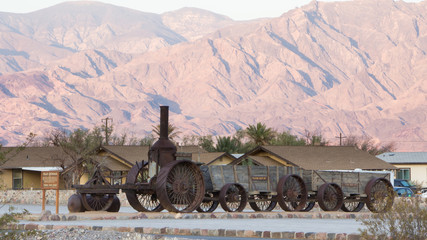 Historic locomotive and wagons in Death Valley National Park