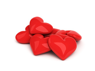 seven red hearts on the white background