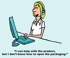 Cartoon of customer service rep, help with product.