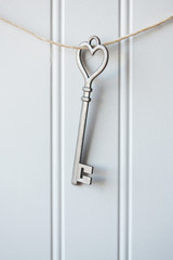 Old Metal Heart Shaped Key