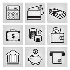 set of vector money icons