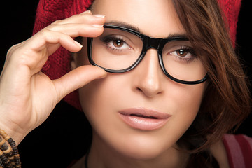 Gorgeous Young Woman Face with Eyeglasses. Cool Trendy Eyewear P