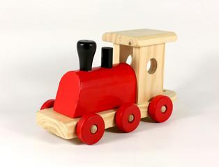 Lok einer Holzeisenbahn