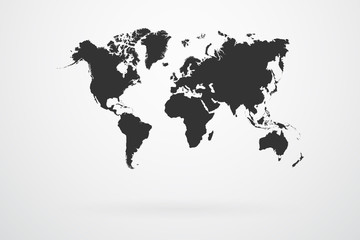 Black World Map Continents Vector