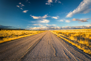 Evening light on a country road near Albuquerque, New Mexico.