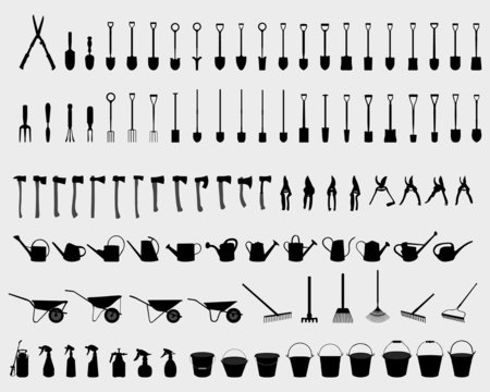 Black silhouettes of garden tools, vector