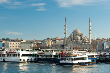 Boats on the Golden Horn in Istanbul