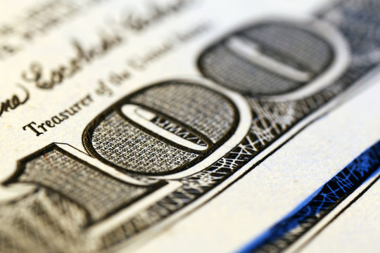 Hundred dollar banknote, macro view