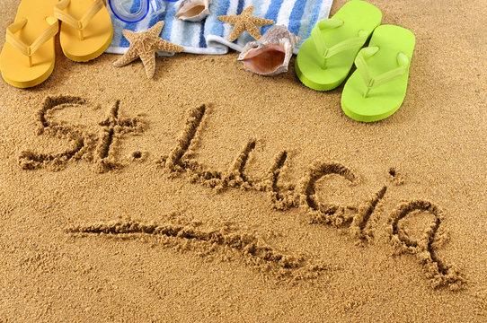 St Lucia beach writing