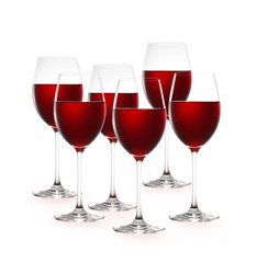 Red wine isolated on white background