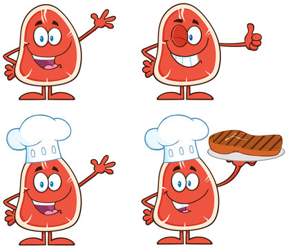 Steak Cartoon Character 1. Collection Set Isolated On White