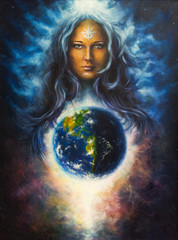 beautiful oil painting on canvas of a woman goddess Lada as a mi