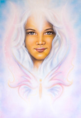 beautiful airbrush painting of a young girl's angelic face with