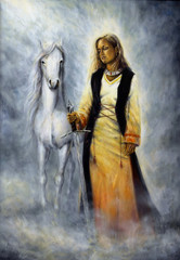 white horse as her protective companion at her side