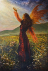 airy woman in a historic dress standing in rays of sunlight amid