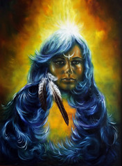 oil painting on canvas of a woman fairy goddess with a feather o