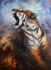 irbrush painting of a roaring tiger on space