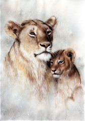 Beautiful airbrush painting of a loving lion mother and her baby