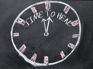 time to heal text and hourglass sign on blackboard