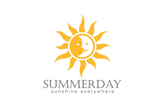 Sun Logo design vector. Day Night Sun Moon Logotype