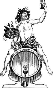 Vintage Illustration Bacchus Dionysus