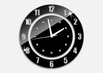 black clock with white arrows
