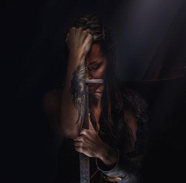 Woman warrior elf with sword