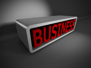 red BUSINESS text 3d on dark background