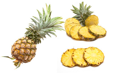 Pineapple tropical fruit on white