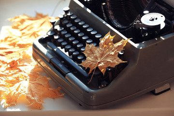 old typewriter concept autumn