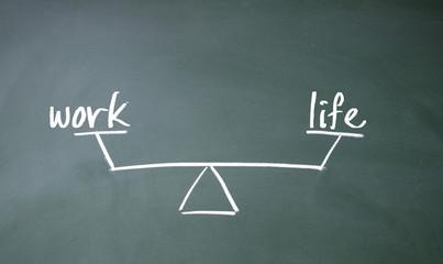 work and life balance sign on blackboard