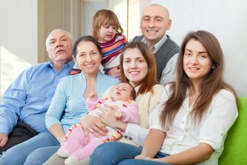cheerful three generations family