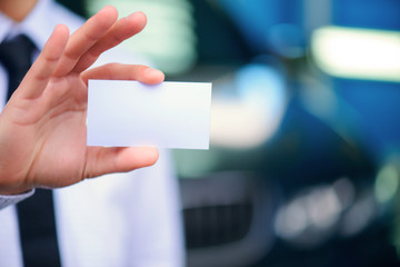 Business card of car service manager