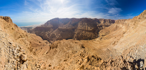Desert canyon and Dead sea panorama.