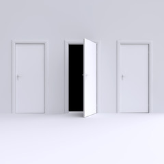 Room with open door. 3d illustration.