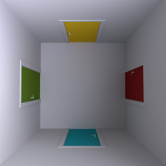 Room with four doors, top view. 3d illustration.