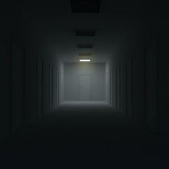 Corridor with closed doors and lighting. 3d illustration.