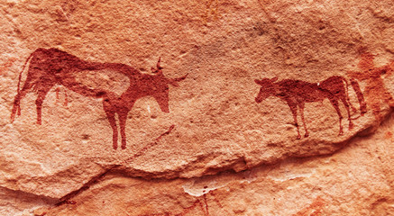 Rock paintings in Sahara Desert, Algeria