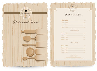 Vintage style restaurant menu design, design on wood background