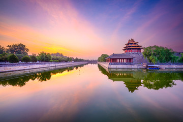 Fotobehang Beijing Forbidden City tower and moat in Beijing, China