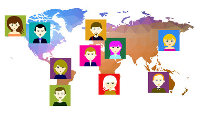 World map with icons of people. Raster. 3