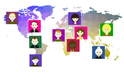 World map with icons of people. Raster. 5